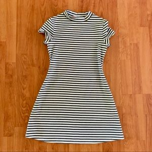 FREE PEOPLE FP Beach striped high neck fit dress